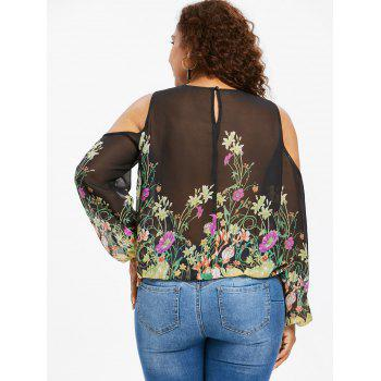 Plus Size Lace Trim Print Sheer Blouse - BLACK 2X