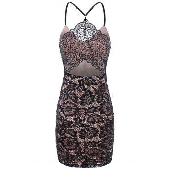 Cami Straps Slim Fit Lace Dress - BLACK 2XL