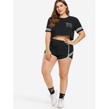 Plus Size Number Top and Shorts Set - BLACK 2X