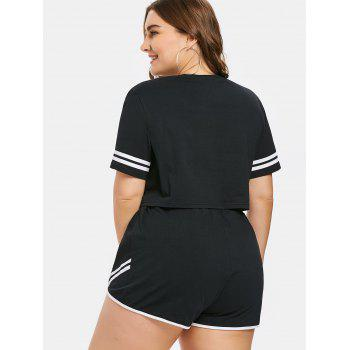 Plus Size Number Top and Shorts Set - BLACK 3X
