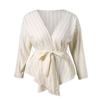 Plus Size Striped Wrap Blouse - CORNSILK 1X