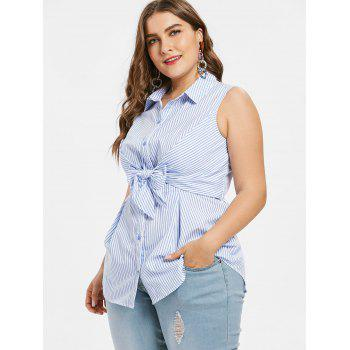 Plus Size Front Knot Stripe Blouse - LIGHT SKY BLUE 1X