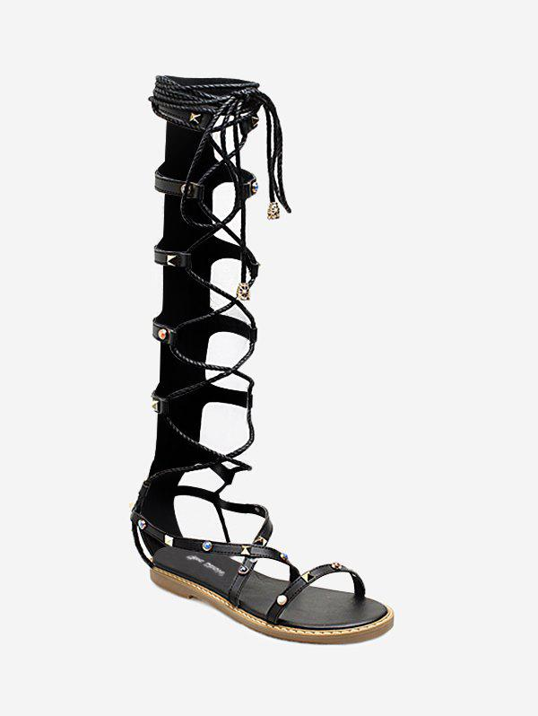 Studded Strappy Lace Up Gladiator Sandals - BLACK 37