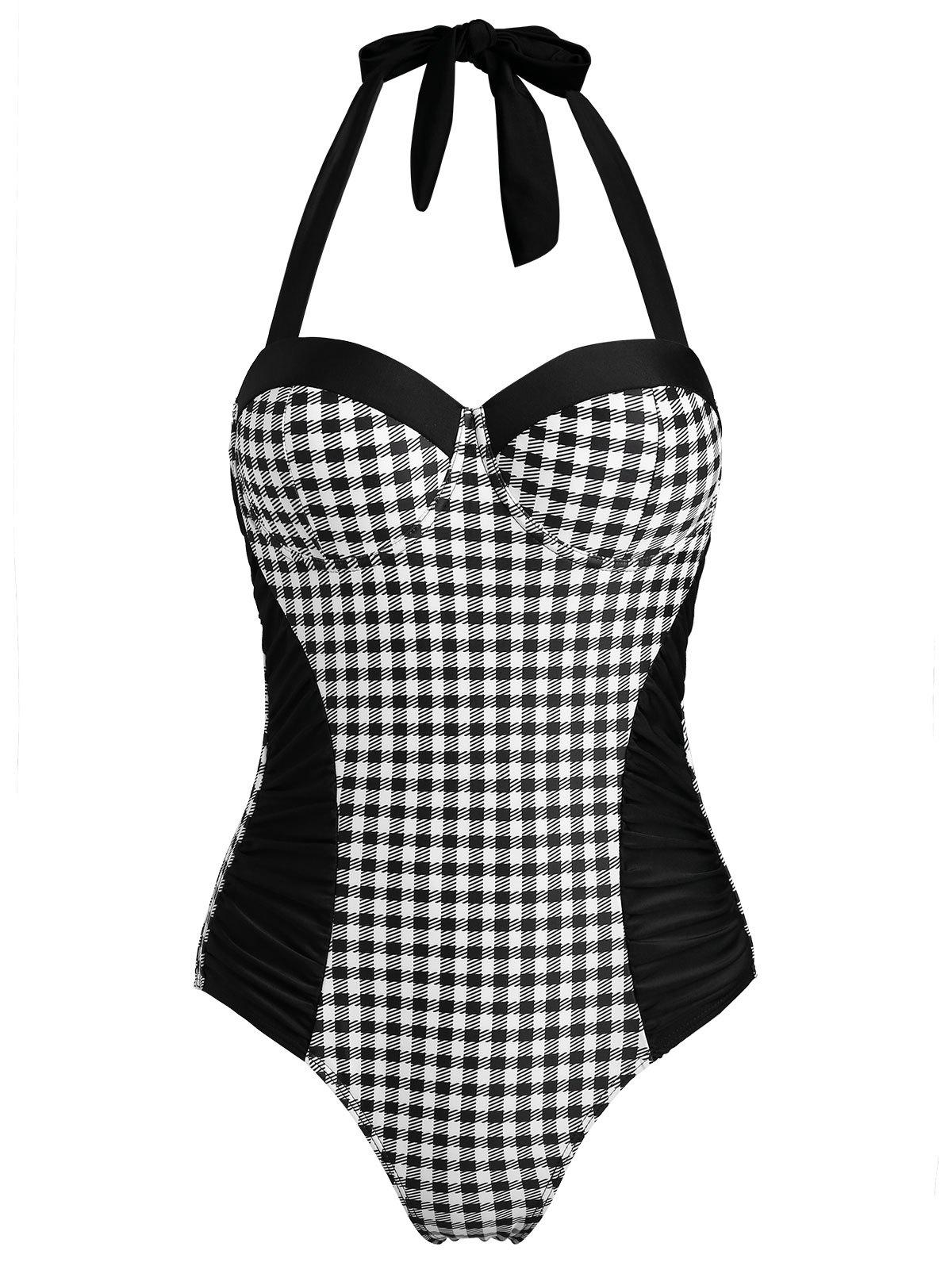 Plaid High Leg Moulded Swimsuit - BLACK S