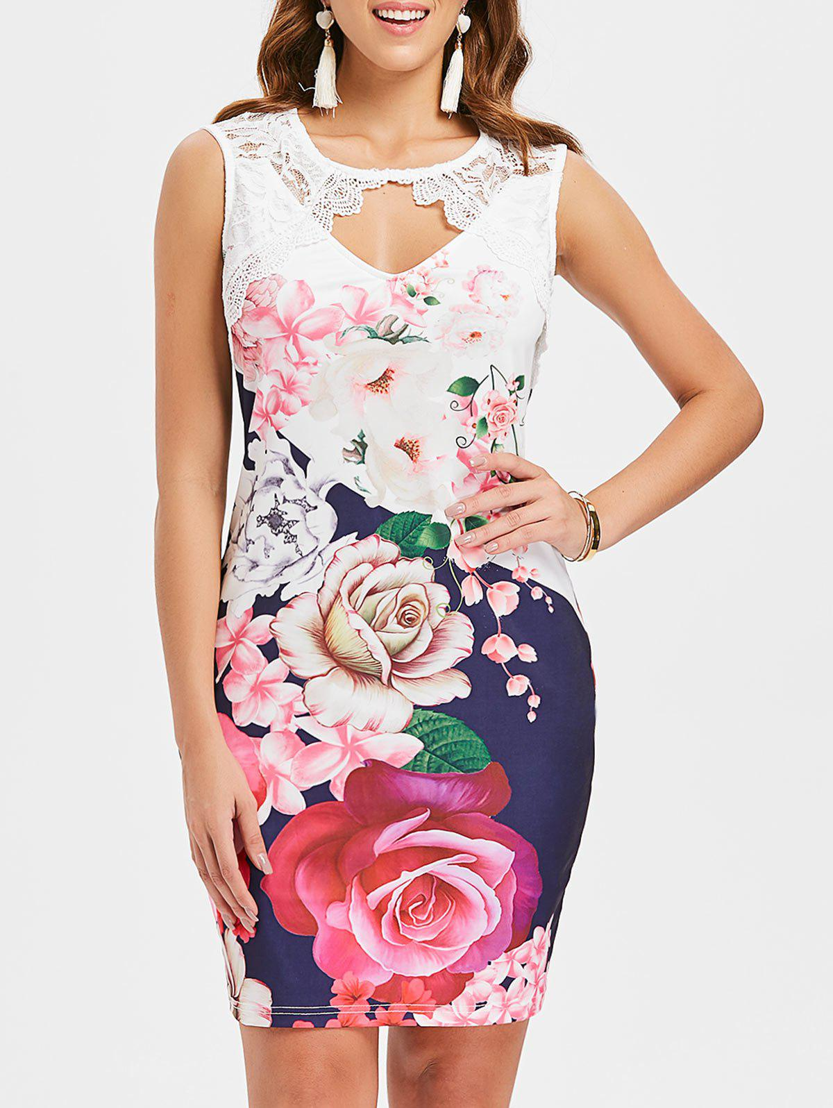 Lace Insert Floral Cut Out Bodycon Dress - multicolor A XL