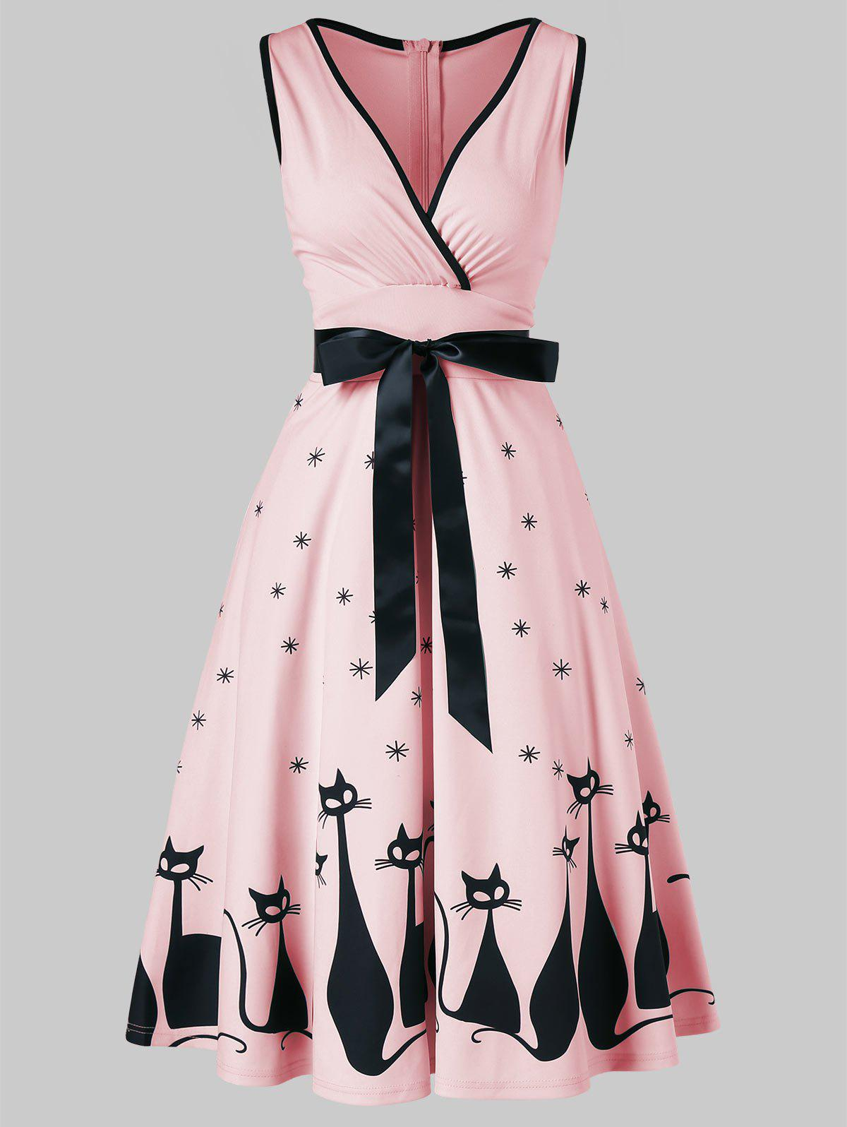 Retro Cat Print Midi Pin Up Dress - LIGHT PINK 2XL