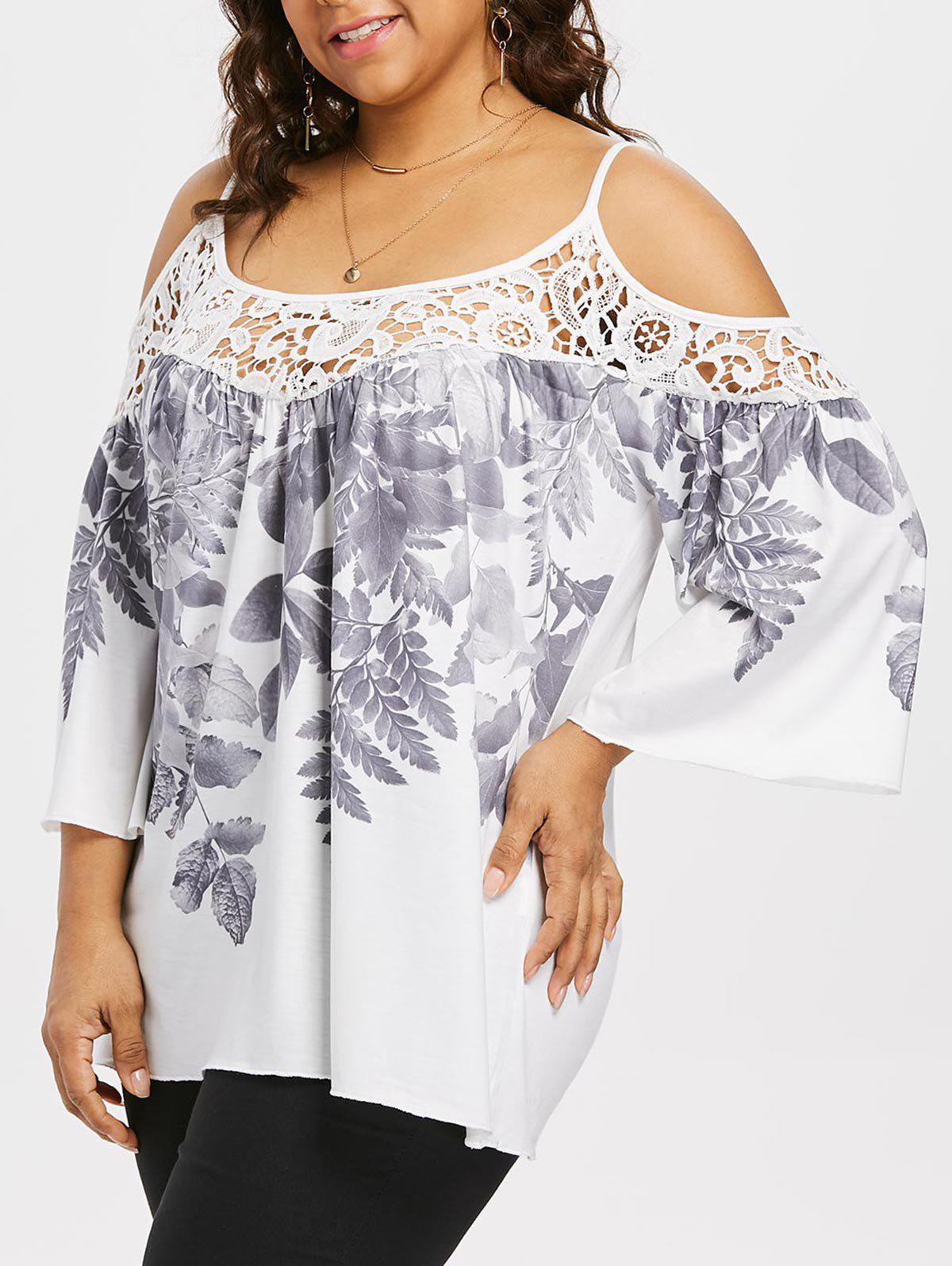 Plus Size Bell Sleeve Cold Shoulder Top