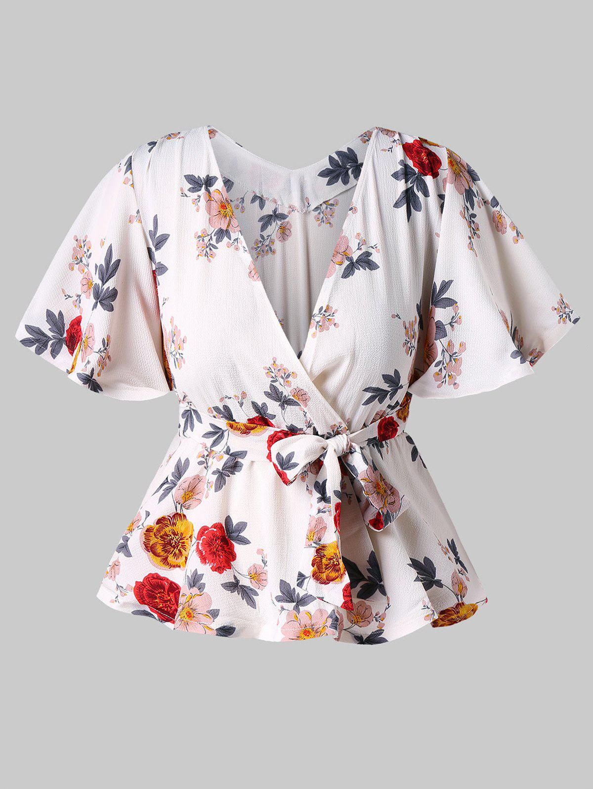 Butterfly Sleeve Printed Faux Wrap Blouse - WHITE M
