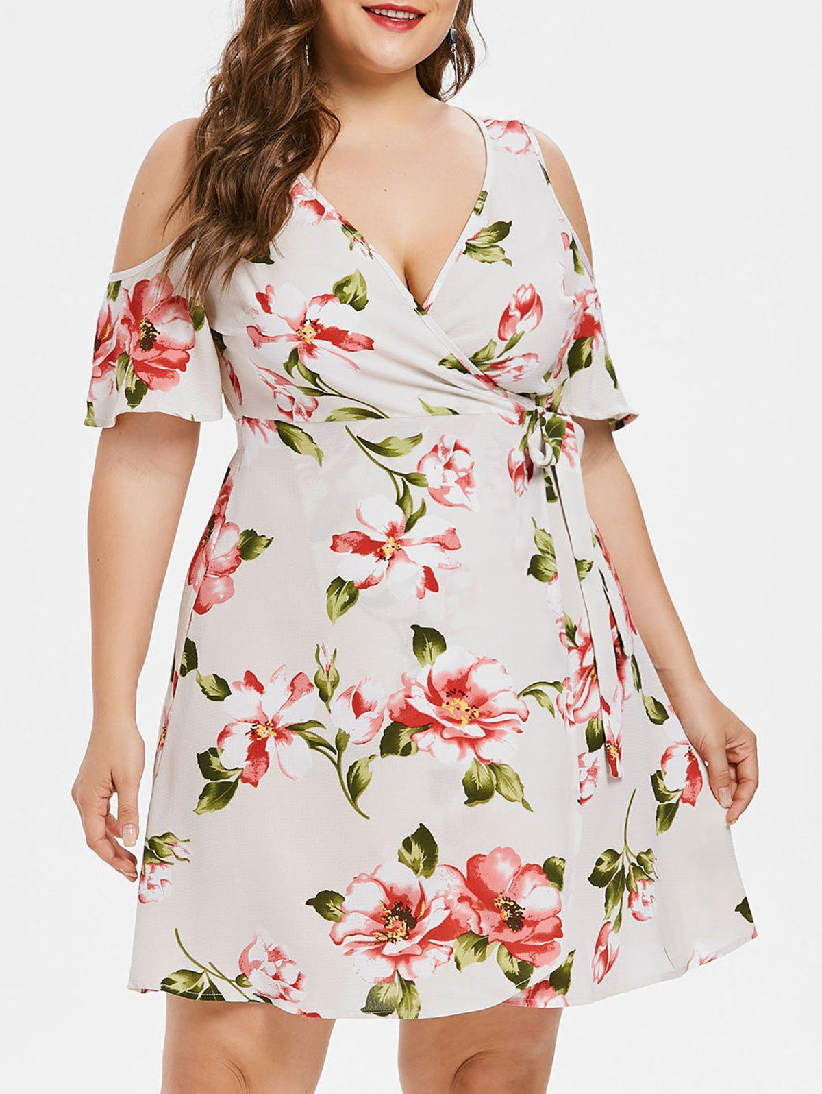 Plus Size Plunging Neckline Wrap Dress - WHITE 3X