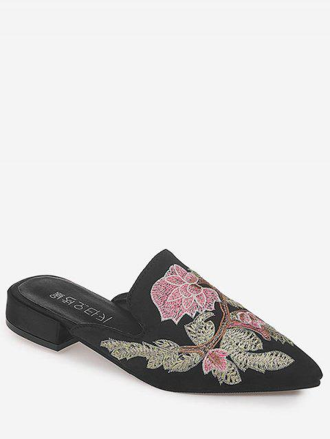 Pointed Toe Floral Decorated Casual Outdoor Mules Shoes - BLACK 38