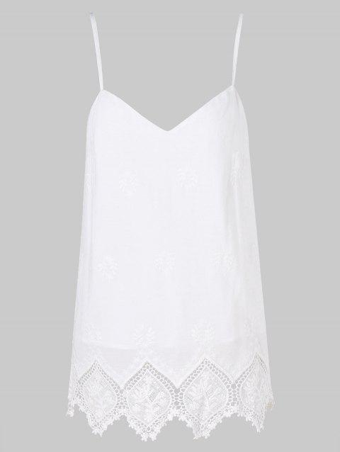 Crochet Zigzag Cut Brim Cami Strap Top - WHITE L