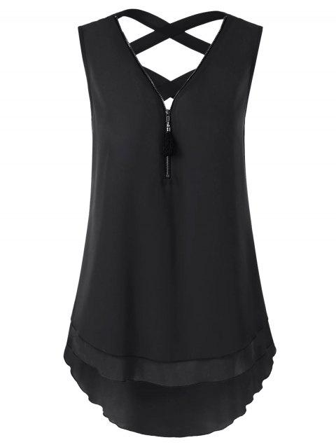 Zipper Neck Asymmetrical Criss Cross Tank Top - BLACK XL