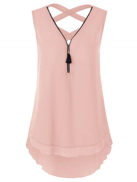 Zipper Neck Asymmetrical Criss Cross Tank Top - LIGHT PINK L