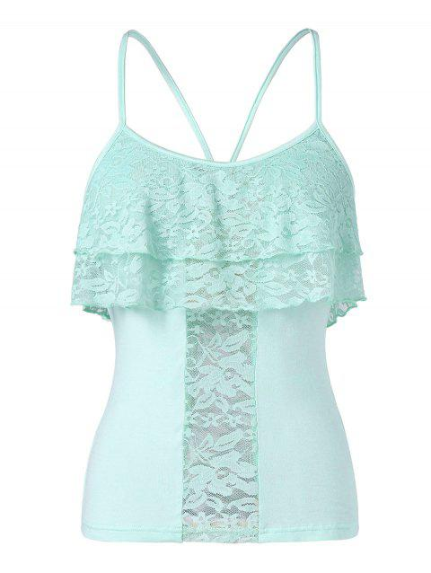 Spaghetti Strap Lace Ruffled Tank Top - LIGHT CYAN M