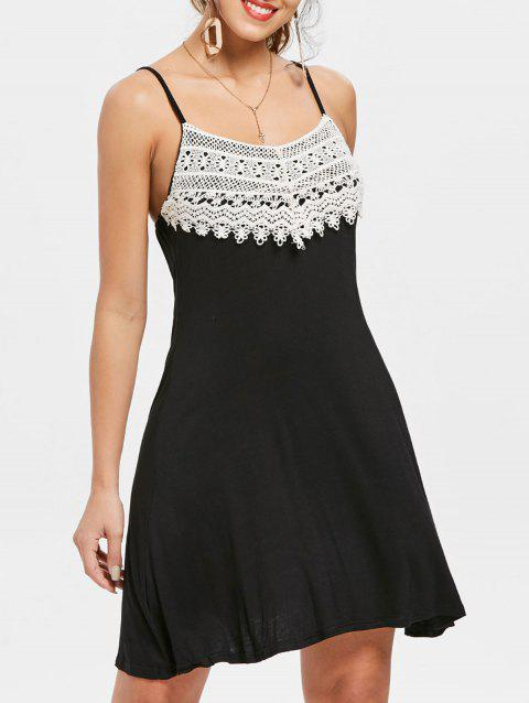 Crochet Lace Backless Mini Slip Dress - BLACK M
