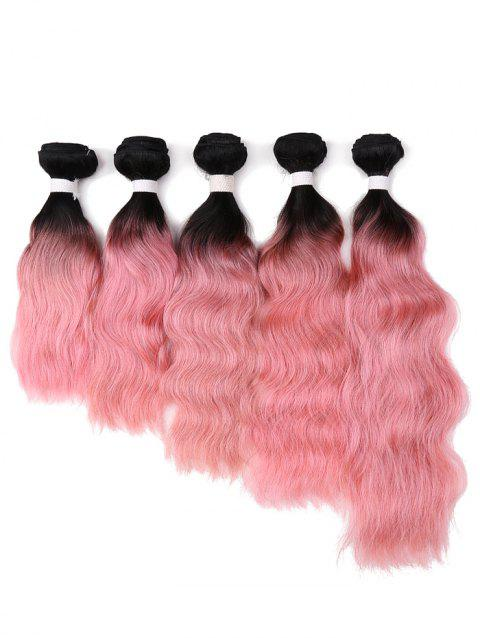1Pc Body Wave Ombre Indian Human Hair Weave - PINK DAISY 18INCH