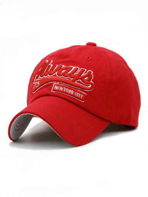 Letter Embroidery Adjustable Trucker Hat - LOVE RED
