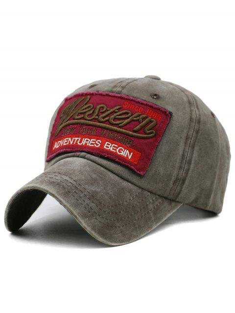 Letter Embroidery Washed Dyed Sunscreen Hat - COFFEE