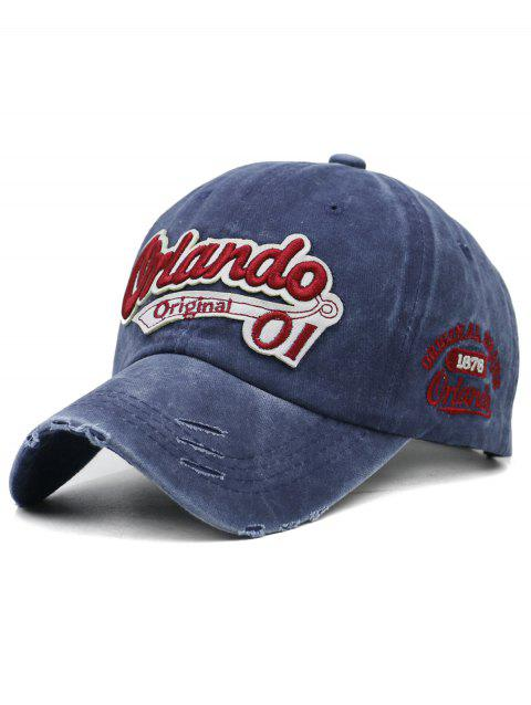 Outdoor Letter Embroidery Distressed Sport Hat - ROYAL BLUE