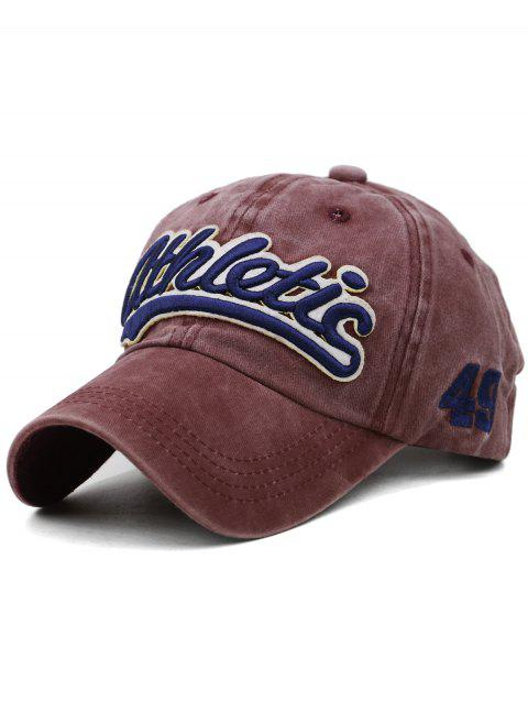 Letter Embroidered Washed Dyed Sport Hat - RED WINE