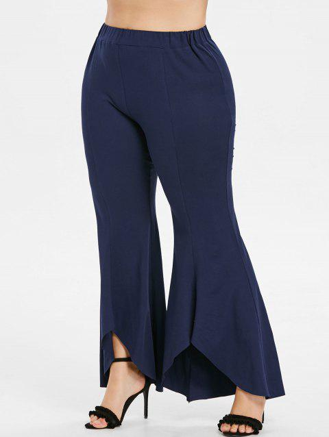 Plus Size High Waisted Bell Bottom Pants - MIDNIGHT BLUE L