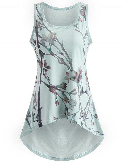 Printed Asymmetrical Tank Top - LIGHT CYAN 2XL