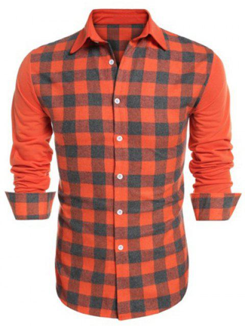 Panel Plaid Button Up Shirt - ORANGE L