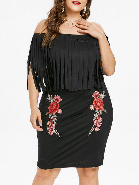 Plus Size Off Shoulder Fringed Dress - BLACK 4X