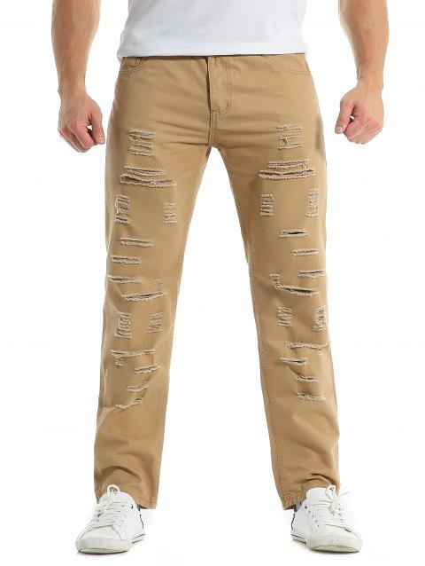 Solid Color Zipper Fly Destroyed Jeans - LIGHT KHAKI M
