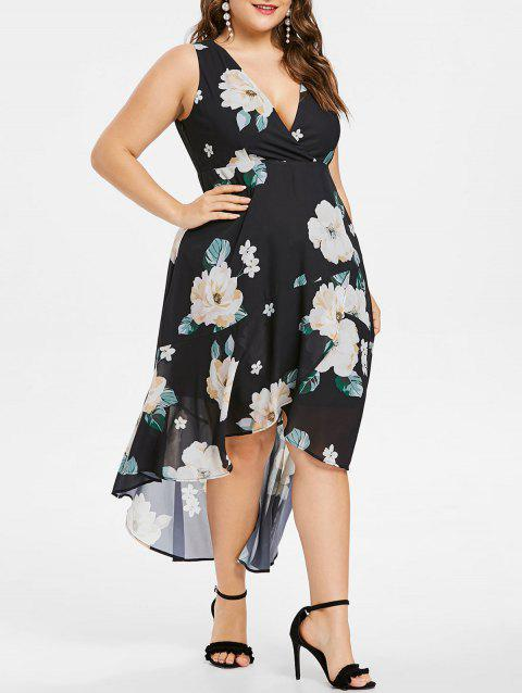 Plus Size Floral Sleeveless Lace Up Dress - BLACK 4X