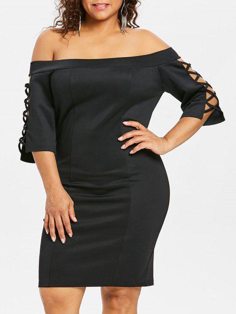 Plus Size Criss Cross Knee Length Dress - BLACK 1X