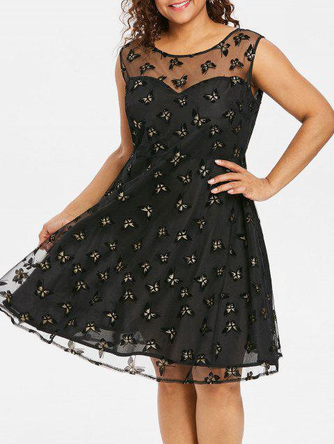Plus Size Vintage Butterfly Dress - BLACK 1X
