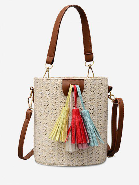 Tassels Straw Casual Outdoor Vacation Tote Bag - BEIGE