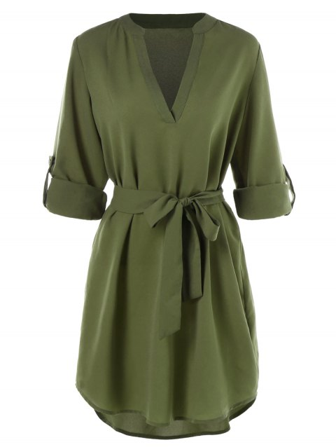 Belted Casual Dress - ARMY GREEN M