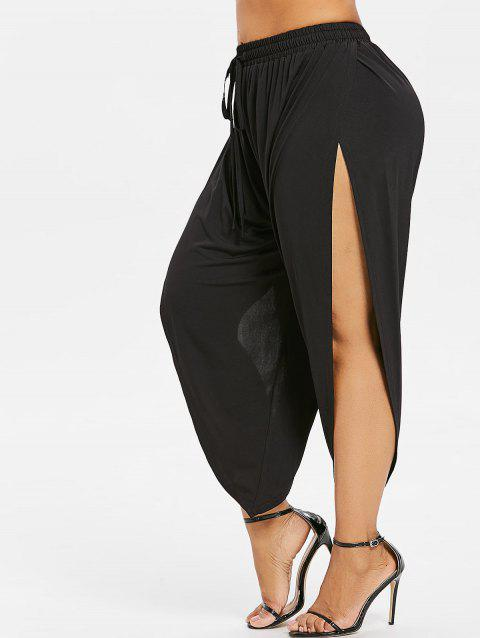 Plus Size Drawstring Side Split Pants - BLACK 1X
