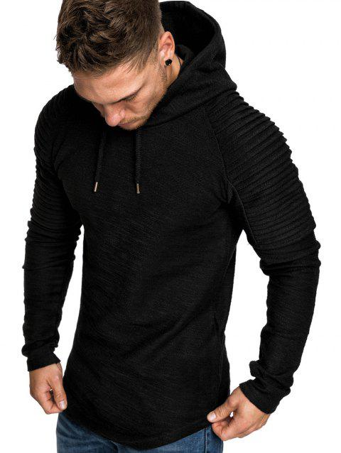 Pullover Solid Color Pleated Hoodie - BLACK M