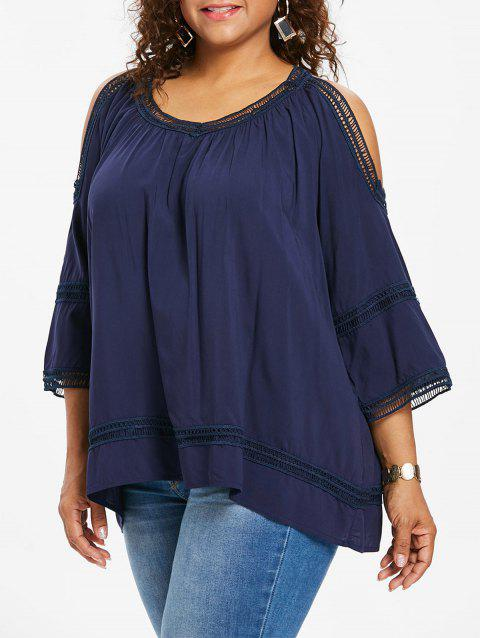 Crochet Trim Open Shoulder Plus Size Blouse - CADETBLUE 1X