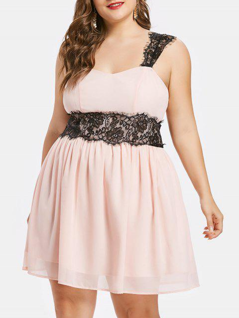 Plus Size Eyelash Lace Trim Empire Waist Dress - PINK BUBBLEGUM 2X