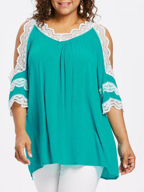 Plus Size Cutout Flare Sleeve Crinkle Blouse - MEDIUM TURQUOISE 2X