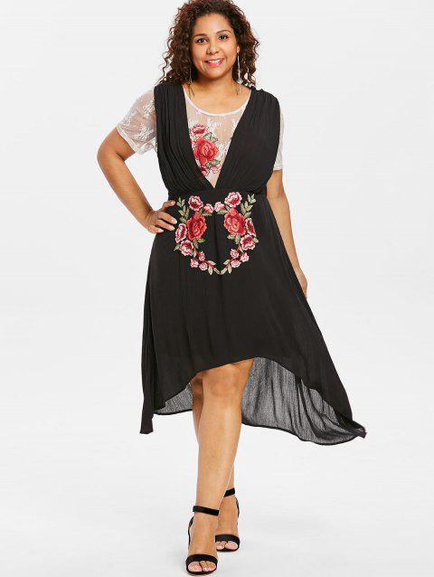 Plus Size Applique Flower High Low Dress