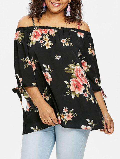 Plus Size Floral Open Shoulder Blouse - BLACK L