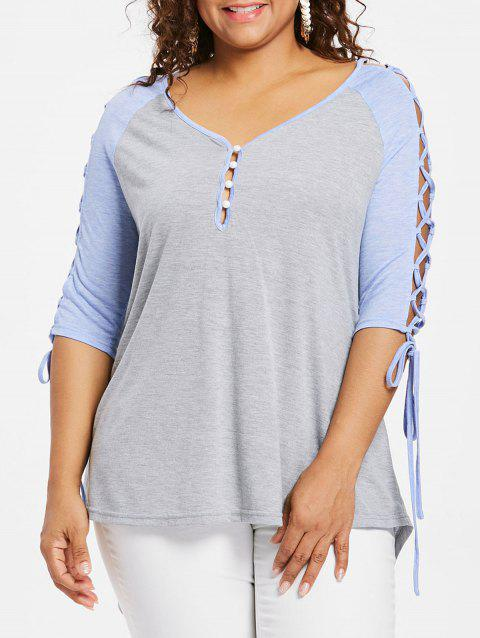 7070134b LIMITED OFFER] 2019 Plus Size Raglan Sleeve V Neck T-shirt In LIGHT ...