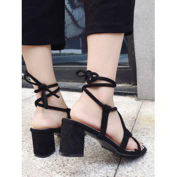 Block Heel Leisure Crisscross Lace Up Sandals - BLACK 36