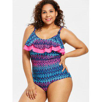 Plus Size Tummy Control One Piece Swimsuit - BLUE L