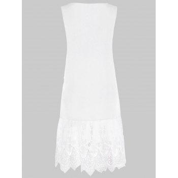 V Neck Embroidered Scalloped Trapeze Dress - WHITE L