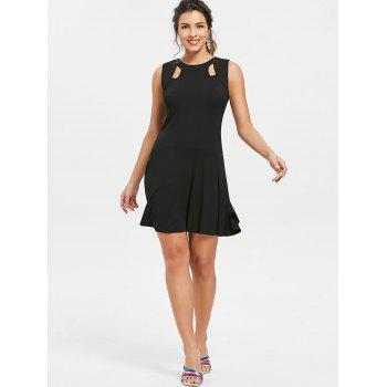 Rivet Open Back Sleeveless Drop Waist Dress - BLACK L