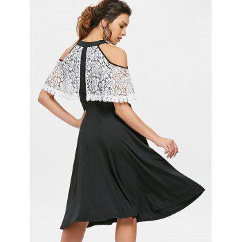 Open Shoulder Lace Ruffled Party Dress - BLACK L