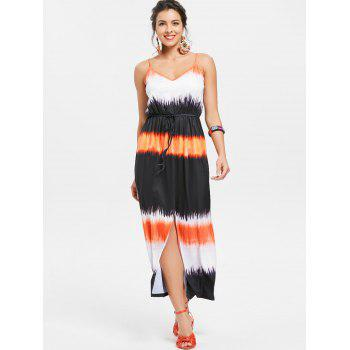 Women's Stylish Condole Belt Tie-Dye Side Slit Dress - COLORMIX S