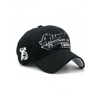 Letter Embroidery Adjustable Trucker Hat - BLACK