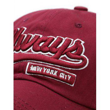 Letter Embroidery Adjustable Trucker Hat - RED WINE